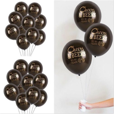 10PC Black Latex Balloon Set Cheers&Beers To 30 40 50 Years Birthday Party Decor