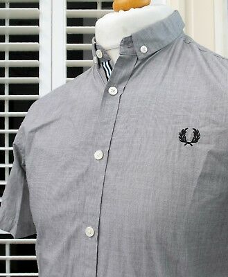 Fred Perry Slate Grey Roll-Sleeve Chambray Shirt - S - Mod Ska Scooter Casuals