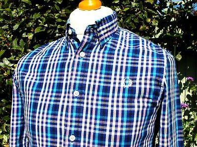 Fred Perry Imperial Blue Bold Gingham Oxford Shirt - S - Mod Ska Scooter Casuals
