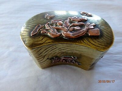 Antique Meiji Japanese  Brass and Copper Small Box