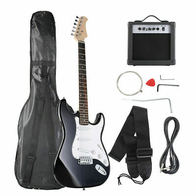 Full Size Black/White Electric Guitar+10w AMP+Strap+Cord+Gigbag New