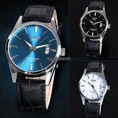 New Fashion Luxury Leisure Leather Quartz Date Mens Wrist Watch RLWH 03
