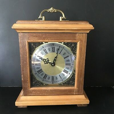 Vintage West Germany Clock Wooden Mantle Ornate Brass Spares H34cmxW28cmxD11cm
