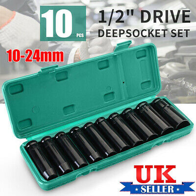 Impact Wrench Socket Set 10 Piece 1/2 Square Drive Metric 10 - 24mm Grade Tool K