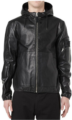 Stone Island Shadow Project Hooded Leather Rider Jacket Mens Small Acronym Nwt S
