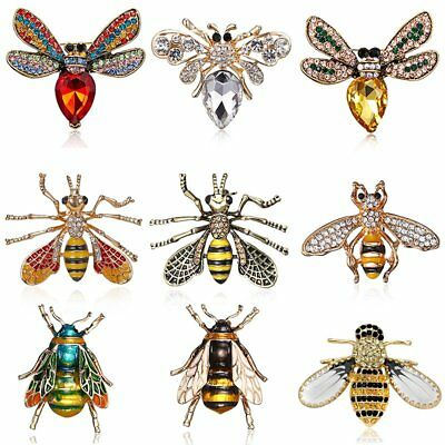 Charm Crystal Rhinestone Bee Animal Insects Enamel Brooch Pin Womens Jewellery