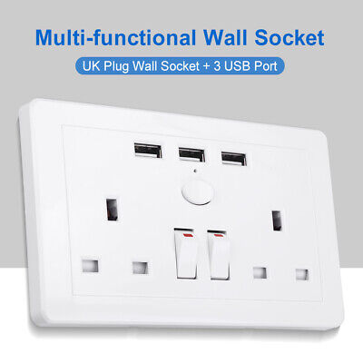 5V/2A Double Wall Plug Socket 2 Gang with 3 USB Charger Port Outlets White Plate