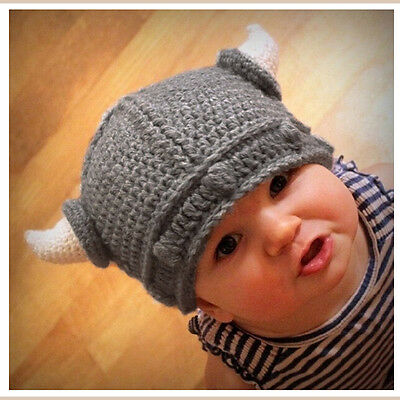 Fashion Baby Kids Viking Hat Crochet Horns Cap Knitted Beanie Costume Gift AU