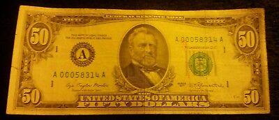 1977  (A)  Federal Reserve Note Fifty Dollar Bill A 00058314 A