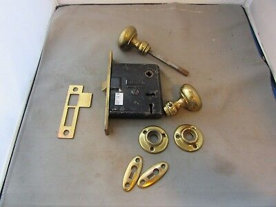VTG Door Lock Sargent & Co Brass Face w/ Knobs Escutcheons Key Hole Covers