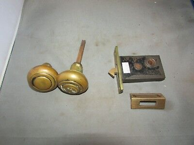 VTG Antique Door Lock Latch Miniature Colonial with Knobs & Keeper Brass