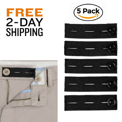 Elastic Waist Extenders For Pants Maternity Waistband Adjustable Fit Buttons Gym