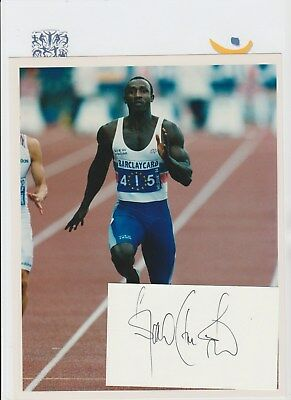 Linford Christie Athlete 1992 Olympic Gold Medalist Orig Autograph Card & Photo