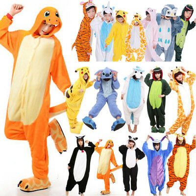 UK Kids Boys Girls Kigurumi Sleepwear Animal Cosplay Costume Pajamas Rompers