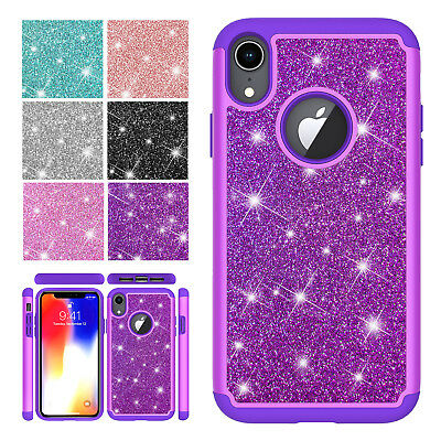 For iPhone XS Max XR 7 8 6s Heavy Duty Glitter Hybrid Rubber Armour Case Cover