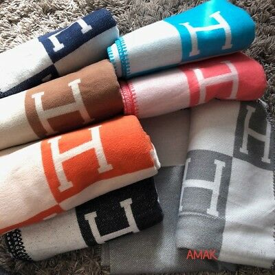 Wool & Cashmere throw blanket H Avalon Style! FAST & FREE SHIPPING UK/NI ONLY!!!