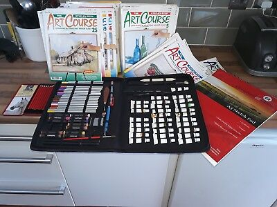 Art step by step course books and paint and pencil set
