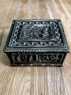 Antique Jewellery Watch Trinket Box Brass With Wood Lining Fabulous Detail Case