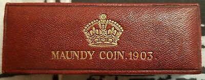1903, 1905 Edward Vii 4 Coins Maundy Set In Original Box !!!