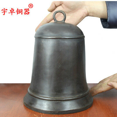 10'' China old Bronze Copper Bell Warning Clock Statue Collection