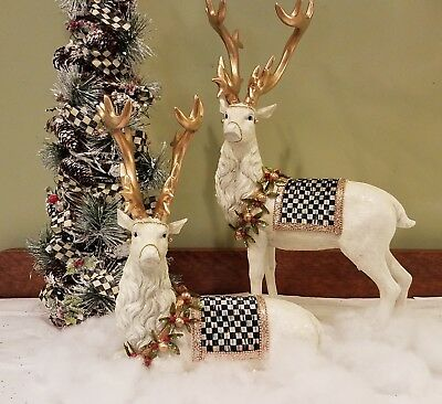Reindeer & Lighted Tree ~ Accented with MacKenzie Childs Ribbon ~ Moose Topper