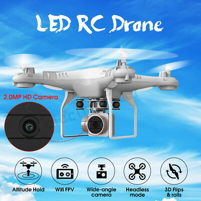 RC Drohne Quadcopter Wifi Video Kamera Drone APP FPV 2M Pixel HD 1080P LED Lampe