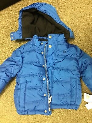 Brand New With Tags Boys Kids Zip Jacket Coat Pockets Blue Toddler Calvin Klein