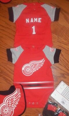 finest selection 9e13a 7402a DETROIT RED WINGS Newborn Infant NHL Jersey Bib & Bootie Set add name &  number