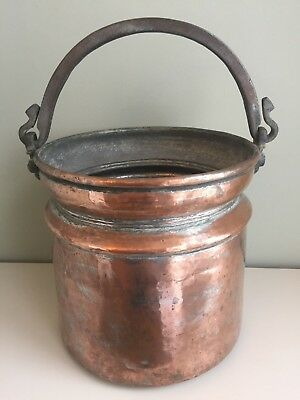 Antique Copper Bucket Pot Fireside Log Coal Hand Forged Wrought Iron Handle Pail