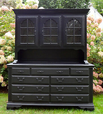 Vtg Ethan Allen Black Windsor Sideboard China Hutch Buffet Cabinet Breakfront