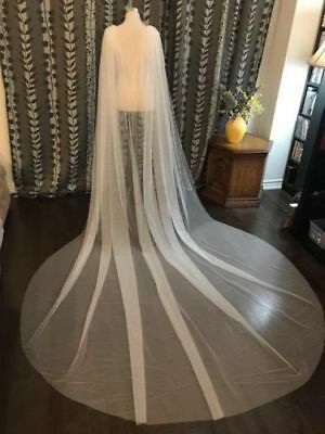 Veil Bridal Shoulder Veil White/Ivory Tulle Long cape cloak Shawl Wedding Cape