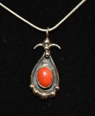 Necklace Coral Deep Red & Sterling Silver By Native American Navajo H Spencer