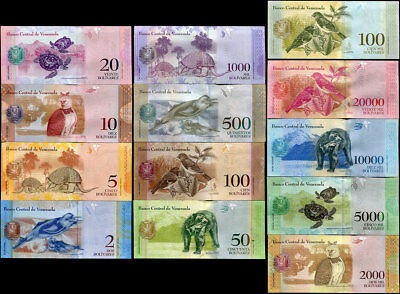 Venezuela Set 13 Unc 2 - 100,000 Bolivares 2011-2017 P 88-93 New Random Dates