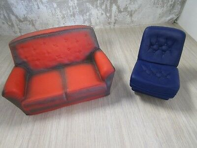 Vintage 1970's Sindy Red Seater Sofa + Blue Rocking Chair