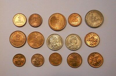 portugal lot of 15 coins 1910´s-1950´s  all uncirculated - perfect condition