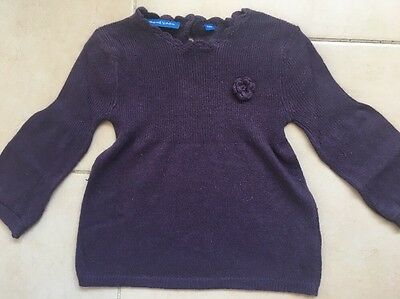 BOUT'CHOU joli pull violet prune fille 18 mois BE cachemire