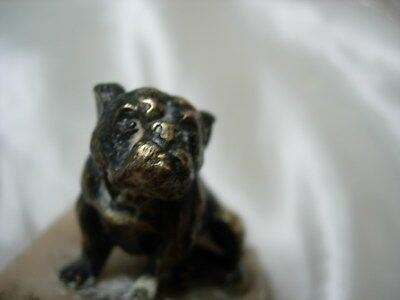 Rare Antique Cast Metal Brass Yale Bulldog Figurine On Marble Base Paperweight