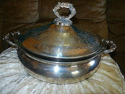 Vintage Footed English Silver Mfg Corp Usa Casserole With Lid & Glass Insert