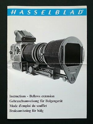 Hasselblad Bellows Extension Instructions - Multi Languages