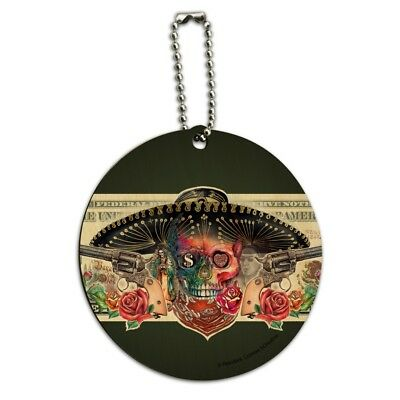 Calavera Sugar Skull Guns on Dollar Day of the Dead Round Wood Luggage ID Tag