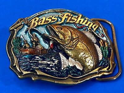 Vintage 1987 Colorful Quality BASS FISHING ~ Fish jumping for Lure  Belt Buckle