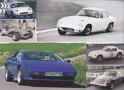 64 LOT Vintage LOTUS Cars, Neat Variety of Magazine Clips, Many Older & 7 models