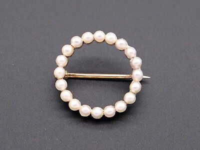 14k Yellow Gold Round Pearl Cluster Circle Eternity Brooch Pin