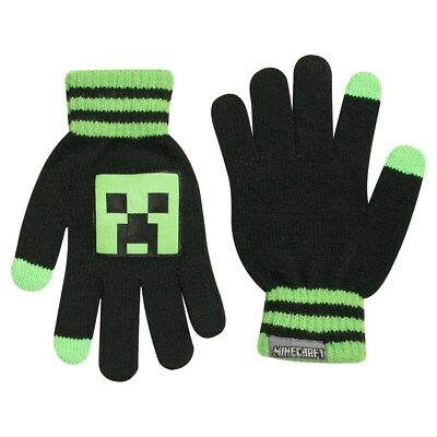 Authentic MINECRAFT Creeper Stripe Knit Gloves NEW