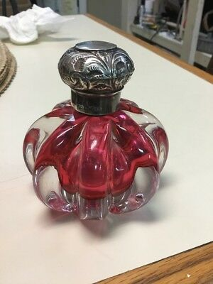Antique A&O  HAND BLOWN  PERFUME CRANBERRY GLASS STERLING BIRMINGHAM EN Bottle