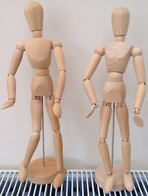 Artists wooden movable models/manikins. Pair - male and female.  New.