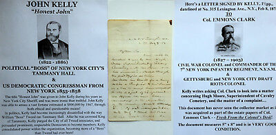 "New York City Tammany Hall Anti ""Boss"" Tweed Congressman Sheriff Letter Signed !"