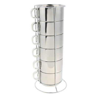 Perfeclan 6pcs Stackable Stainless Steel Mugs Coffee Tea Cups with Holder