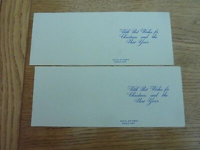 Ww2 2 X Original Unused Raf Middle East Xmas Cards 10 X 4""