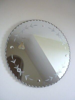 VINTAGE Original ART DECO Frameless Scalloped edge and Etched Wall Mirror 50cm